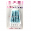 Pale Blue Glitter Candles / 12
