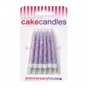 Lilac Glitter Candles / 12