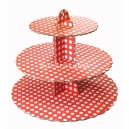 3 Tier Red Spot Cupcake Stand