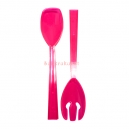 Serving Fork and Spoon Sets Plastic Neon Pink