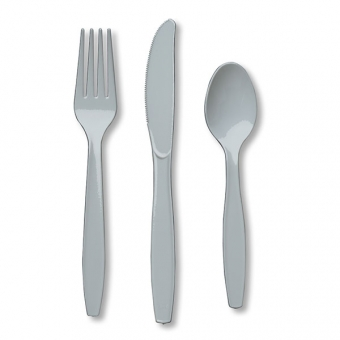 Shimmering Silver Premium Plastic Cutlery Set / 24