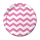 "Candy Pink Chevron 9"" Dinner Plates / 8"