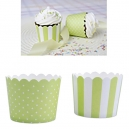 Baking Cups Mini Light Green and White / 12