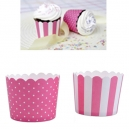 Baking Cups Mini Pink and White / 12