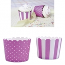Baking Cups Mini Violet and White / 12