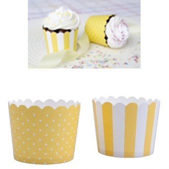 Baking Cups Mini Yellow and White / 12