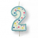 Large Blue Numeral 2 Candle, 63mm