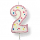 Large Pink Numeral 2 Candle, 63mm