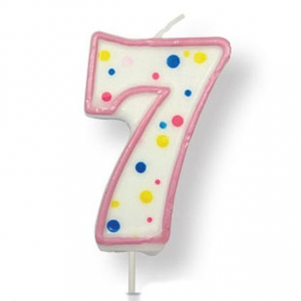 Large Pink Numeral 7 Candle, 63mm