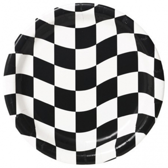 "Black & White Check 9"" Dinner Plates / 8"