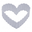 Fluted Heart White Cookie Cutter, 6.4 cm