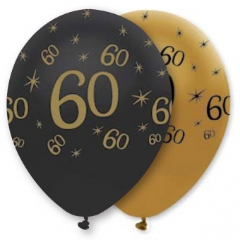 Age 60 Black&Gold Latex Balloons / 6
